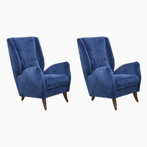Blue Velvet Armchairs by Gio Ponti, 1950s, Set of 2