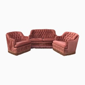 Pink Velvet Sofa and Armchairs Living Room Set, 1970s, Set of 3