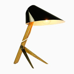 Model Billy Brass and Wood Table Lamp from J.T. Kalmar, 1950s
