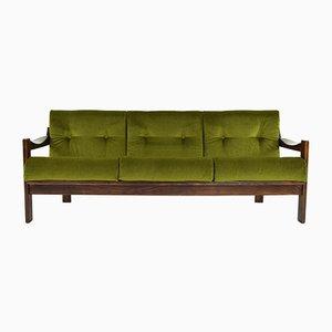 Spanisches Sofa mit Gestell aus Nussholz & grünem Samtbezug von AG Barcelona, 1970er