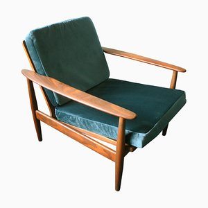 Danish Turquoise Velvet Lounge Chair, 1960s