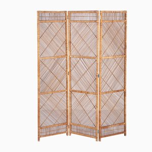 Three-Panel Rattan Room Divider, 1960s