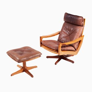 Danish Teak and Leather Swivel Chair and Ottoman, 1970s, Set of 2