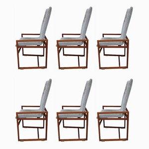 Esszimmerstühle aus Nussholz, 1970er, 6er Set