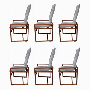 Walnut Dining Chairs, 1970s, Set of 6