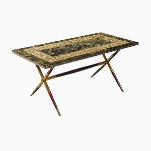 Table Basse Néoclassique à Relief d'Atelier Fornasetti, années 50