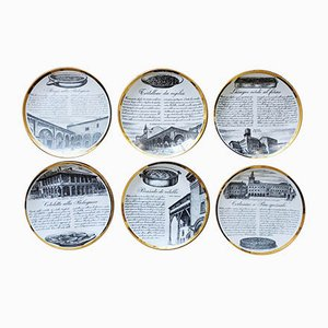 Decorative Porcelain Plates by Piero Fornasetti, 1960s, Set of 6