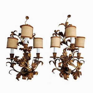 Italian Gilt Metal Sconces, 1960s, Set of 2