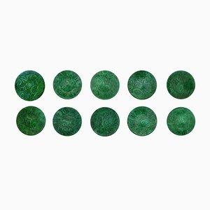 Platos verdes de porcelana y malaquita de Atelier Fornasetti, años 60. Juego de 10