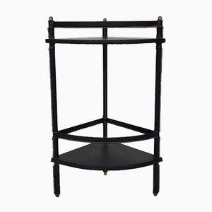 Mesa esquinera francesa esquinera de cuero negro de Jacques Adnet, años 50