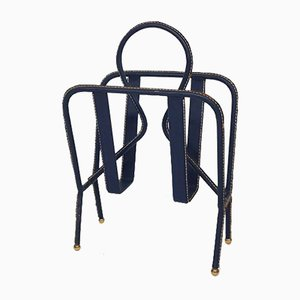 French Blue Leather Stitched Magazine Rack by Jacques Adnet, 1950s