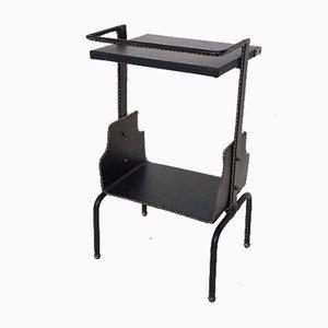 Mesa para el teléfono francesa bordada de cuero negro de Jacques Adnet, años 50