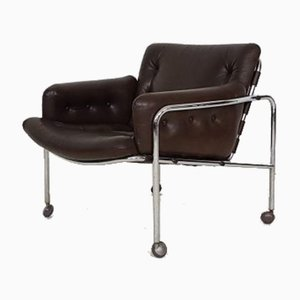 Brown Leather Model Sz08 Osaka Lounge Chair by Martin Visser for 't Spectrum, 1969
