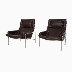 Braune Modell Sz09 Nagoya Leder Sessel von Martin Visser für 't Spectrum, 1969, 2er Set