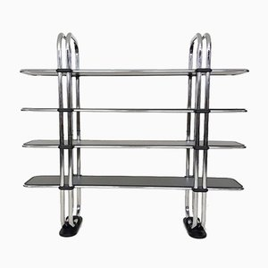 Estantería Bauhaus italiana de metal cromado tubular, años 80
