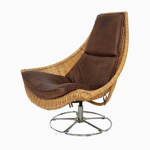 Leather and Rattan Swivel Chair by Gerard Van Den Berg for Montis, 1970s