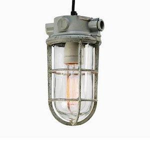 Lampe à Suspension Industrielle en Verre Gris, années 50