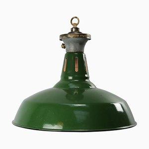 Grün emaillierte industrielle Mid-Century Hängelampe