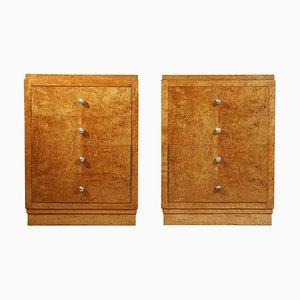 Art Deco Birch Bedside Cabinets, 1930s, Set of 2
