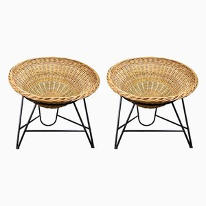 East German Wicker Chairs, 1960s, Set of 2