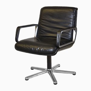 German Aluminum and Black Leather Desk Chair from Wilkhahn, 1970s