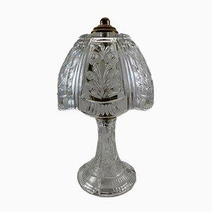 Lámpara de mesa de cristal, años 80