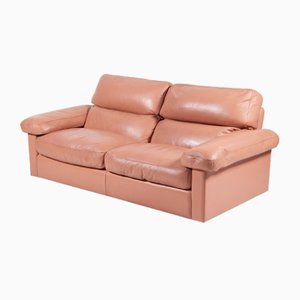Large Pink Leather Sofa by Tito Agnoli for Poltrona Frau, 1970s