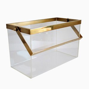 Italian Brass and Lucite Magazine Rack, 1970s