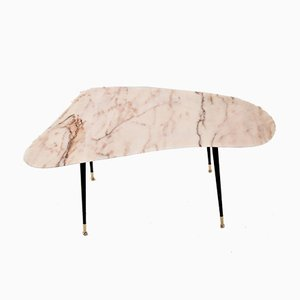 Pink Marble and Brass Coffee Table, 1950s