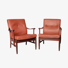 Polished Mahogany Armchairs, 1960s, Set of 2