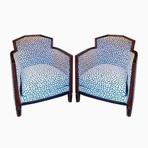 Art Deco Mahogany and Mahogany Stain Armchairs, 1930s, Set of 2