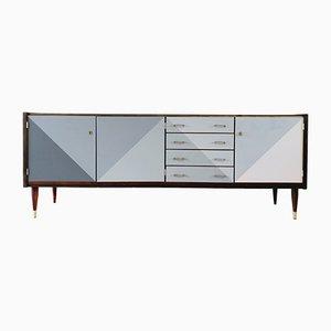 Sideboard aus Mahagoni mit grauer Front, 1965
