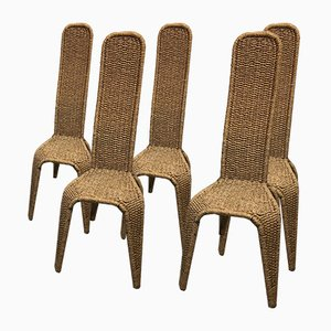 Rope Dining Chairs, 1970s, Set of 5