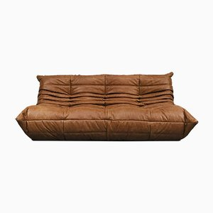 Vintage French Cognac Leather Sofa by Michel Ducaroy for Ligne Roset