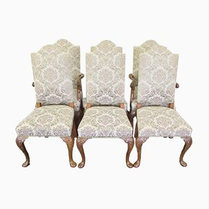 Walnut Dining Chairs, 1920s, Set of 6