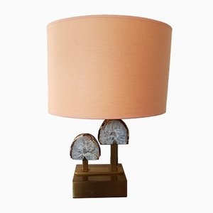Brass and Agate Stone Table Lamp, 1970s