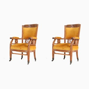 Antique Art Nouveau Oak Armchairs, Set of 2