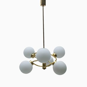 Brass and Opaline Glass Ceiling Lamp, 1960s