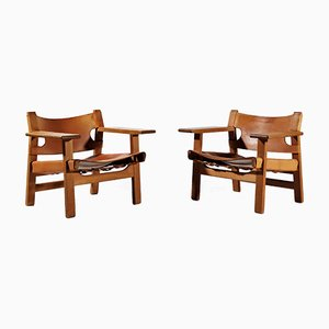 Mid-Century Oak and Saddle Leather Lounge Chairs by Børge Mogensen for Fredericia, Set of 2