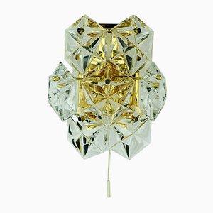 Applique Mid-Century en Cristal de Verre et Plaqué Laiton de Kinkeldey
