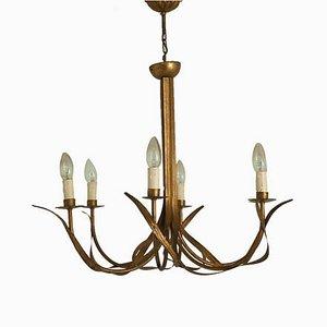 Lámpara de araña con flores de latón, años 70