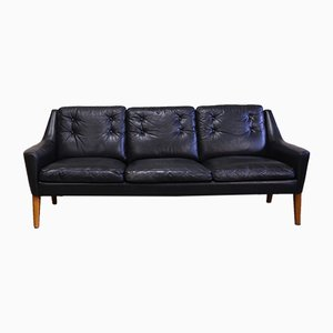 Black Leather Sofa from Ulferts Möbler, 1960s