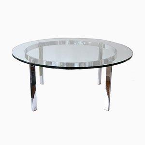 Grande Table Basse en Verre et Acier, années 70
