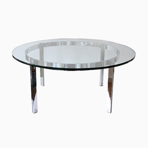 Large Glass and Steel Coffee Table, 1970s