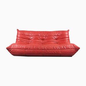 Canapé Togo Vintage en Cuir Rouge par Michel Ducaroy pour Ligne Roset, France