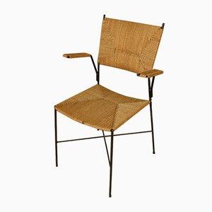 Beistellstuhl aus Rattan von Eisen & Drahtwerke Erlau, 1950er