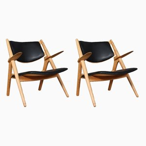 CH-28 Lounge Chairs by Hans J. Wegner for Carl Hansen & Søn, 1956, Set of 2