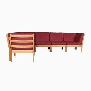 Modulares Vintage Sofa mit Gestell aus Eiche & Kvadrat-Wollstoffbezug von Hans J. Wegner für Getama