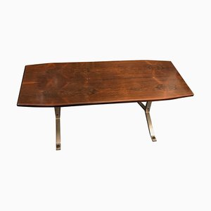 Mesa de centro de palisandro y acero de Osvaldo Borsani para Tecno, años 70