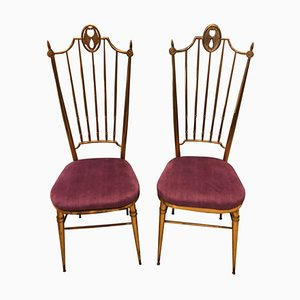 Italian Purple and Brass Dining Chairs from Descalzi Giuseppe Gaetano, 1960s, Set of 2